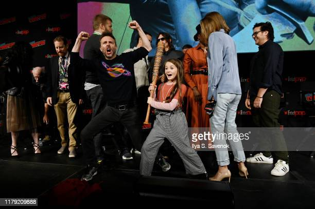 Chris Hardwick and Cailey Fleming pose onstage during The Walking Dead Universe, Including AMC's Flagship Series and the Untitled New Third Series...