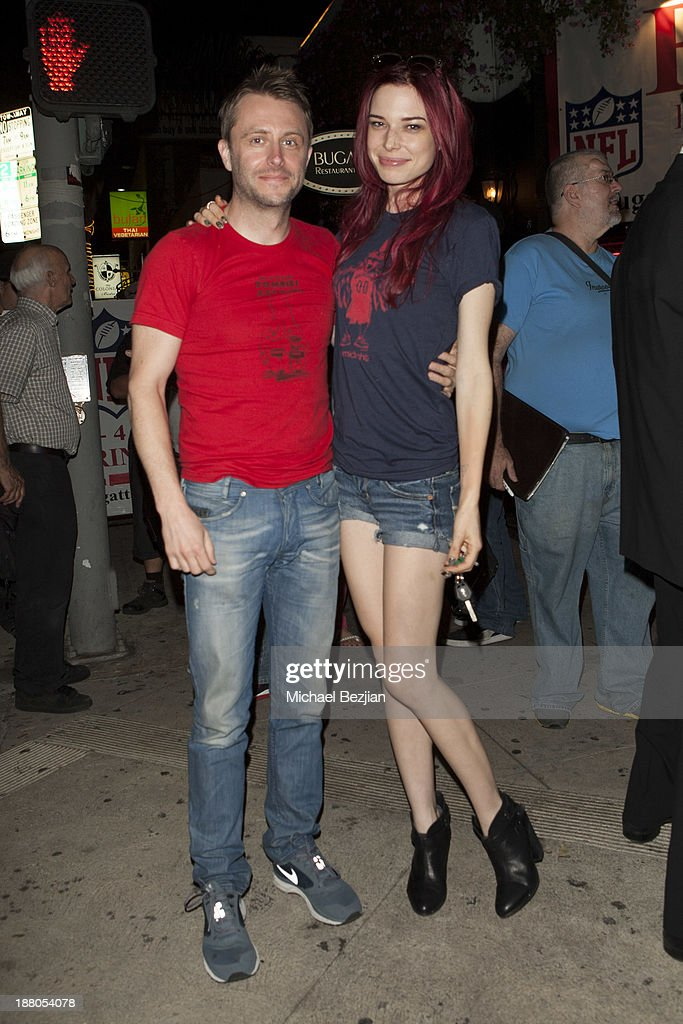Chris Hardwick and Chloe Dykstra attend Alphabet Soup For Grown-Ups Book Launch Party at Bugatta on November 14, 2013 in Los Angeles, California.