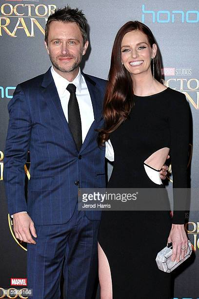 Chris Hardwick and Lydia Hearst arrive at the Premiere of Disney and Marvel Studios' 'Doctor Strange' on October 20, 2016 in Hollywood, California.