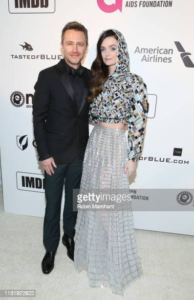 Chris Hardwick and Lydia Hearst attend 27th Annual Elton John AIDS Foundation Academy Awards Viewing Party Celebrating EJAF And The 91st Academy...