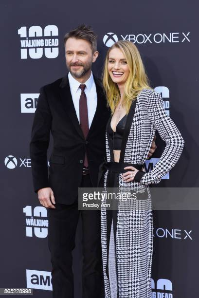 Chris Hardwick and Lydia Hearst attend AMC Celebrates The 100th Episode Of 'The Walking Dead' Arrivals at The Greek Theatre on October 22 2017 in Los...