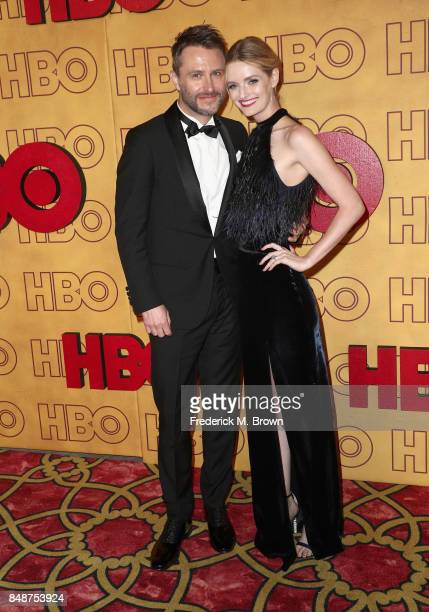 Chris Hardwick and Lydia Hearst attend HBO's Post Emmy Awards Reception at The Plaza at the Pacific Design Center on September 17 2017 in Los Angeles...