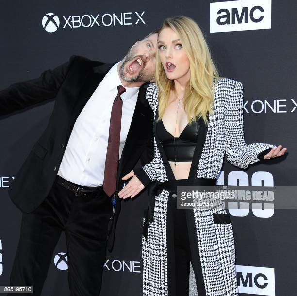 Chris Hardwick and Lydia Hearst attend the 100th episode celebration off 'The Walking Dead' at The Greek Theatre on October 22 2017 in Los Angeles...