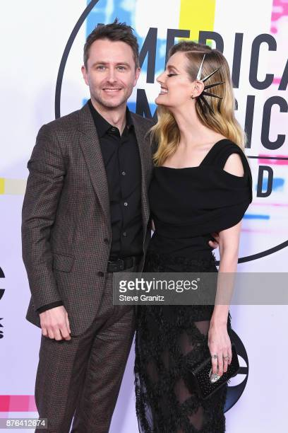 Chris Hardwick and Lydia Hearst attend the 2017 American Music Awards at Microsoft Theater on November 19 2017 in Los Angeles California