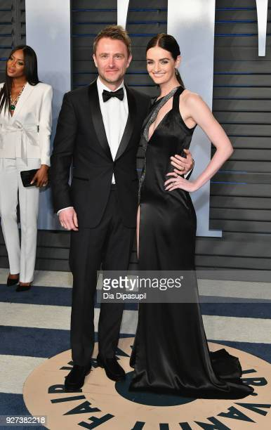 Chris Hardwick and Lydia Hearst attend the 2018 Vanity Fair Oscar Party hosted by Radhika Jones at Wallis Annenberg Center for the Performing Arts on...