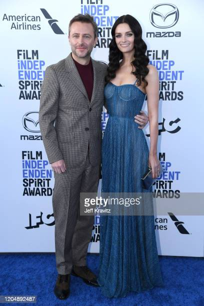Chris Hardwick and Lydia Hearst attend the 2020 Film Independent Spirit Awards on February 08, 2020 in Santa Monica, California.