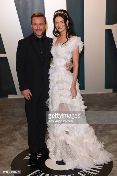 Chris Hardwick and Lydia Hearst attend the 2020 Vanity Fair Oscar Party at Wallis Annenberg Center for the Performing Arts on February 09, 2020 in...