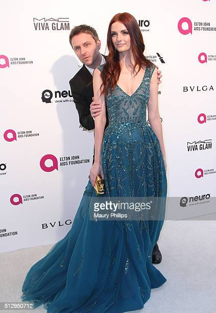 Chris Hardwick and Lydia Hearst attend the 24th Annual Elton John AIDS Foundation's Oscar Viewing Party Arrivals on February 28 2016 in West...
