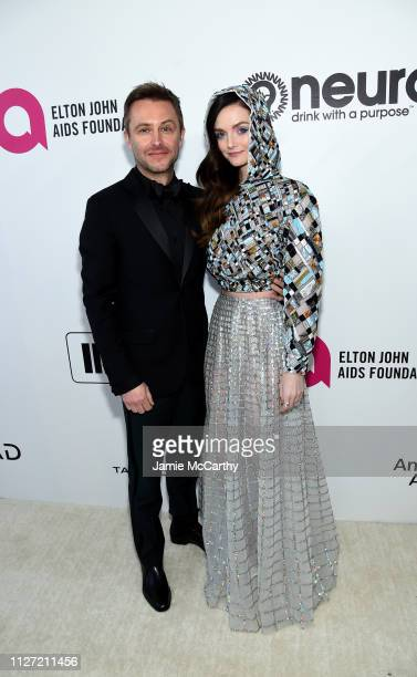 Chris Hardwick and Lydia Hearst attend the 27th annual Elton John AIDS Foundation Academy Awards Viewing Party sponsored by IMDb and Neuro Drinks...