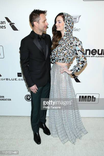 Chris Hardwick and Lydia Hearst attend the 27th Annual Elton John AIDS Foundation Academy Awards Viewing Party Celebrating EJAF and The 91st Academy...