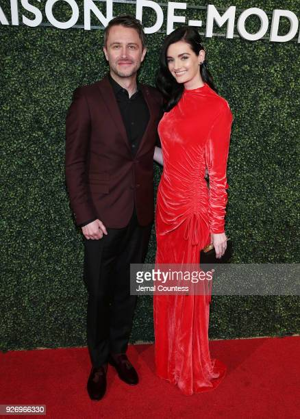 Chris Hardwick and Lydia Hearst attend the MAISONDEMODE Celebrates Sustainable Style By Honoring Suzy Amis Cameron Of Red Carpet Green Dress at...
