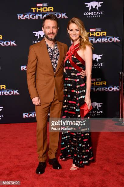 Chris Hardwick and Lydia Hearst attend the premiere of Disney and Marvel's 'Thor Ragnarok' on October 10 2017 in Los Angeles California