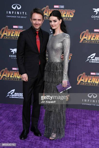 Chris Hardwick and Lydia Hearst attend the premiere of Disney and Marvel's 'Avengers: Infinity War' on April 23, 2018 in Los Angeles, California.