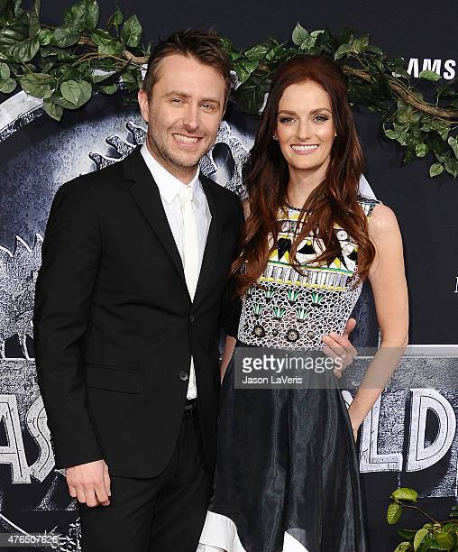 Chris Hardwick and Lydia Hearst attend the premiere of 'Jurassic World' at Dolby Theatre on June 9 2015 in Hollywood California