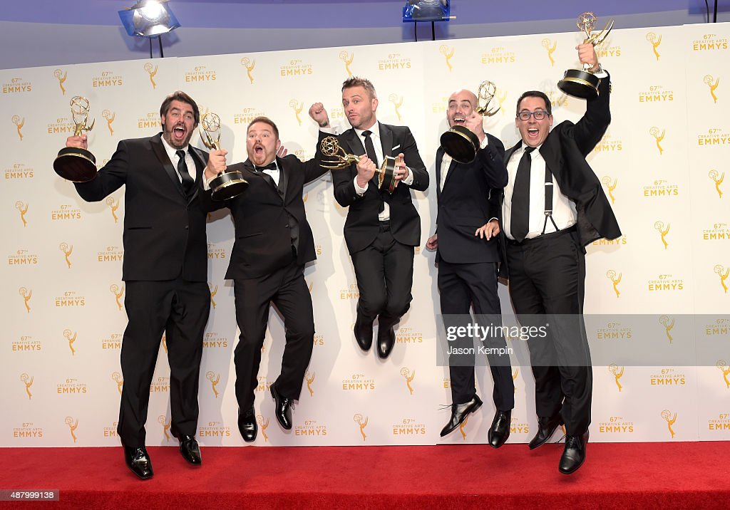 Chris Hardwick (C) and the team from '@midnight With Chris Harwick,' winners of Outstanding Interactive Program,' pose in the press room during the 2015 Creative Arts Emmy Awards at Microsoft Theater on September 12, 2015 in Los Angeles, California.
