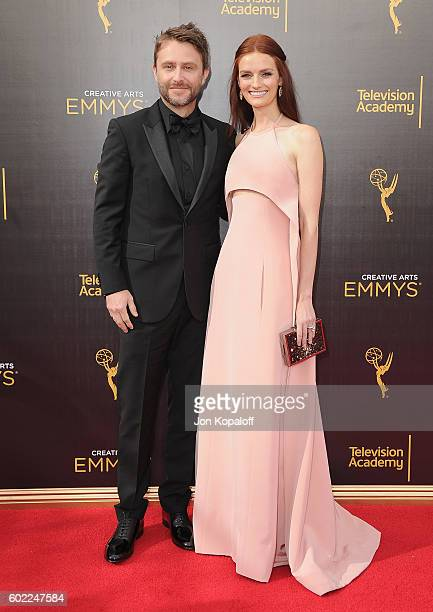 Chris Hardwick and wife Lydia Hearst arrive at the 2016 Creative Arts Emmy Awards at Microsoft Theater on September 10 2016 in Los Angeles California