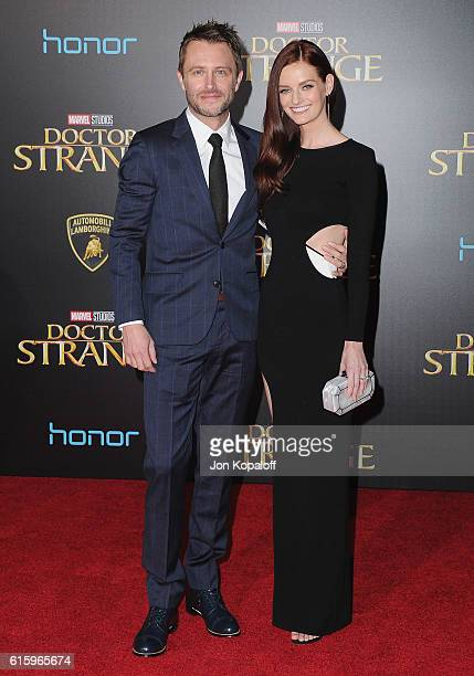 Chris Hardwick and wife Lydia Hearst arrive at the Los Angeles Premiere 'Doctor Strange' on October 20 2016 in Hollywood California