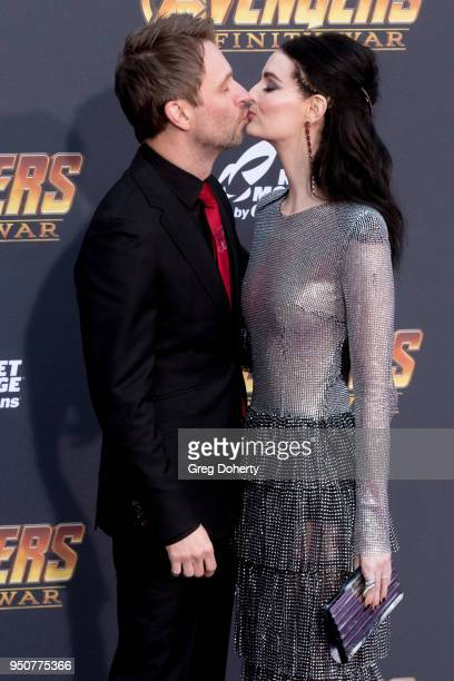 Chris Hardwick and wife Lydia Hearst attend the 'Avengers Infinity War' World Premiere on April 23 2018 in Los Angeles California