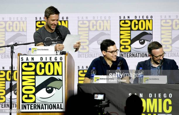 Chris Hardwick Andrew Chambliss and Ian Goldberg speak at the Fear The Walking Dead Panel during 2019 ComicCon International at San Diego Convention...