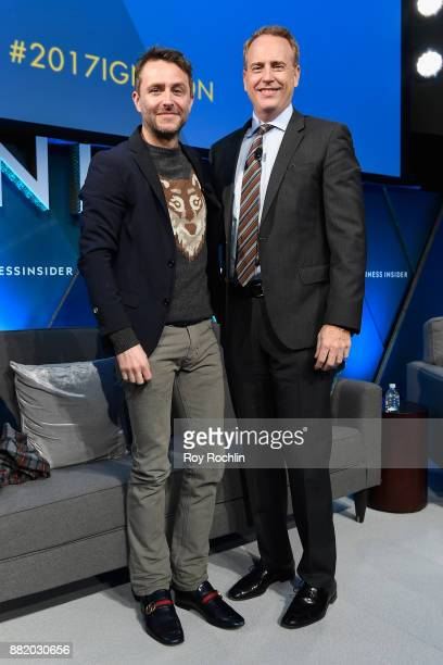 Chris Hardwick CEO and host of 'Nerdist' 'The The Awesome Show' and Robert Greenblatt chairman of NBC Entertainment pose onstage at IGNITION Future...