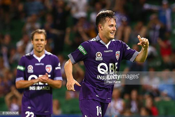 Chris Harold of the Glory celebrates after scoring a goal during the round 23 ALeague match between the Perth Glory and the Central Coast Mariners at...