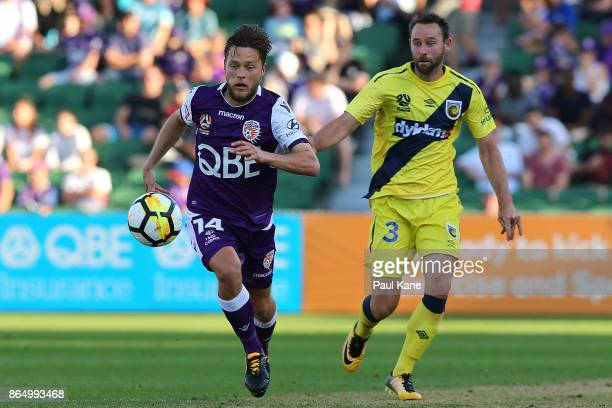 Chris Harold of the Glory runs onto the ball during the round three ALeague match between Perth Glory and the Central Coast Mariners at nib Stadium...