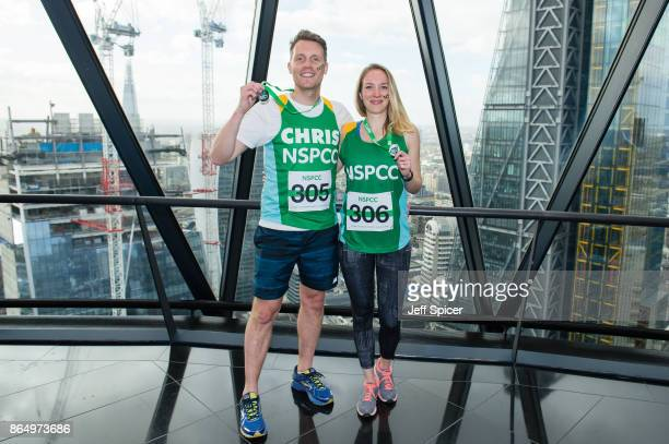 Chris Harper and Emily Bowker take part in the Gherkin Challenge for the NSPCC at The Gherkin on October 22 2017 in London England