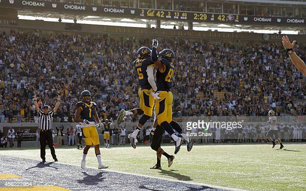Chris Harper and Jake Ashton of the California Golden Bears celebrate after Harper caught a touchdown pass during their game against the Colorado...