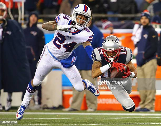 Chris Harper of the New England Patriots catches a pass as Stephon Gilmore of the Buffalo Bills defends during the fourth quarter at Gillette Stadium...