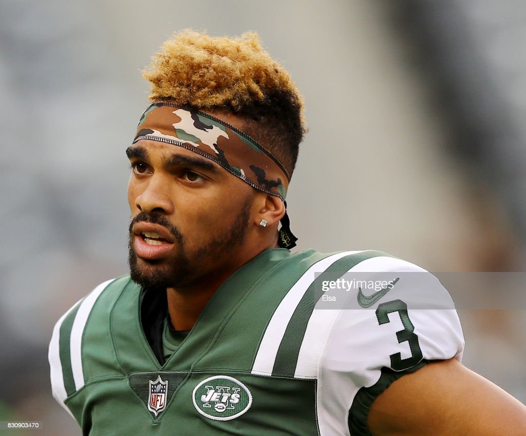 Chris Harper #3 of the New York Jets looks on before the game against the Tennessee Titans during a preseason game at MetLife Stadium on August 12, 2017 in East Rutherford, New Jersey.