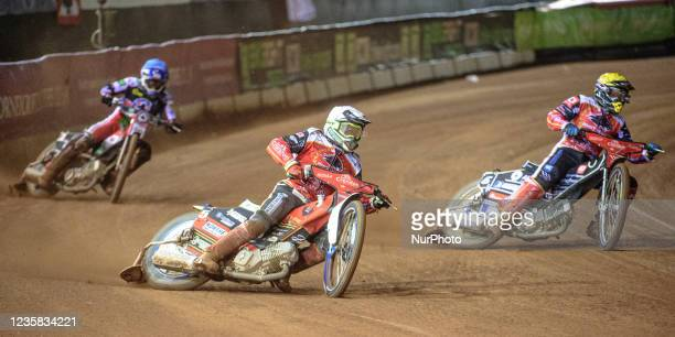 Chris Harris and Bjarne Pedersen lead Richie Worrall during the SGB Premiership Grand Final 1st Leg between Belle Vue Aces and Peterborough Panthers...