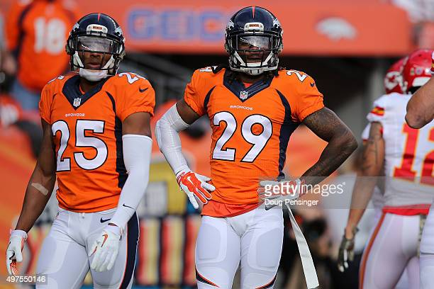 Chris Harris and Bradley Roby of the Denver Broncos defend against the Kansas City Chiefs at Sports Authority Field at Mile High on November 15 2015...