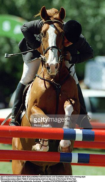 Chris Harris and Godfather show their winning style rduring the Class 3 Open Table C showjumping event on day one of the horse Of the Year...