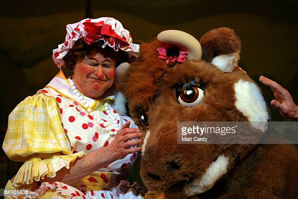 Chris Harris as Dame Trott performs during the traditional pantomime Jack and the Beanstalk on stage at the Theatre Royal Bath on December 20 2008 in...