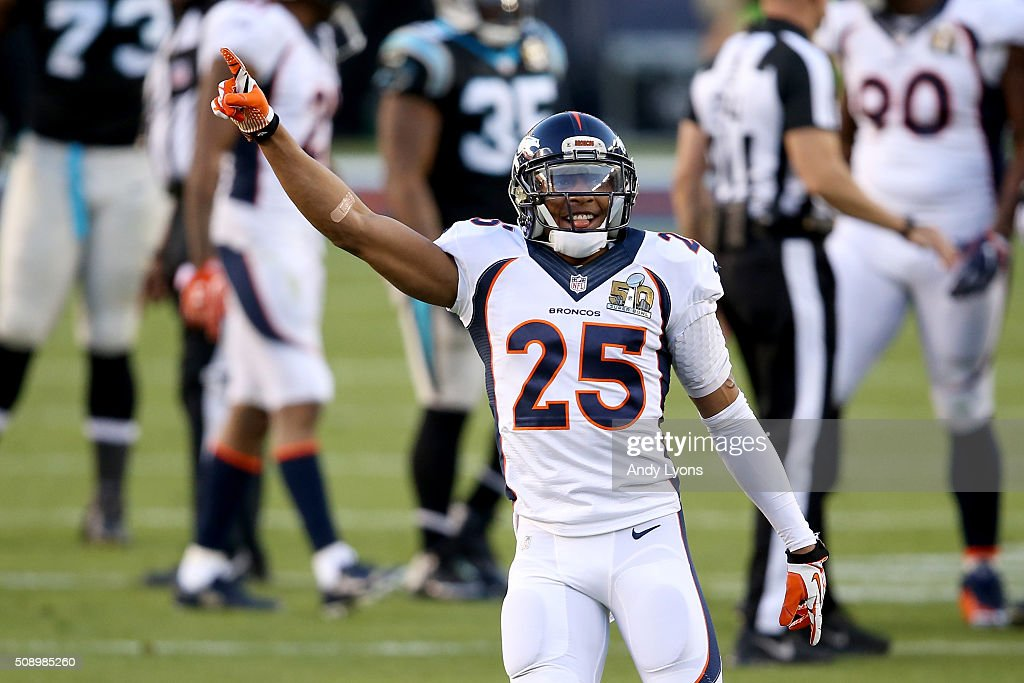 Chris Harris Jr. #25 of the Denver Broncos reacts after Denver recovered a fumble by Mike Tolbert #35 of the Carolina Panthers during Super Bowl 50 at Levi's Stadium on February 7, 2016 in Santa Clara, California.