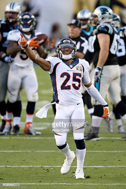 Chris Harris Jr #25 of the Denver Broncos reacts after Denver recovered a fumble by Mike Tolbert of the Carolina Panthers during Super Bowl 50 at...