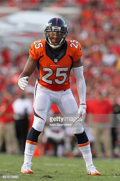 Chris Harris Jr of the Broncos sets up on defense during the NFL game between the Denver Broncos and Tampa Bay Buccaneers on October 02 at Raymond...
