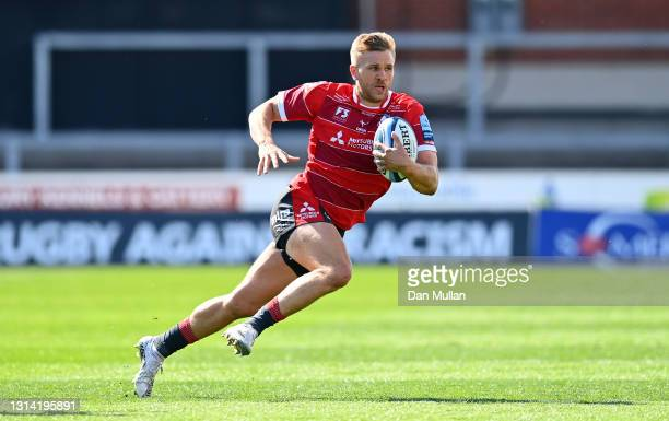 Chris Harris of Gloucester makes a break during the Gallagher Premiership Rugby match between Gloucester and Newcastle Falcons at Kingsholm Stadium...