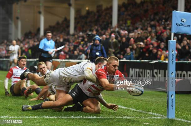 Chris Harris of Gloucester Rugby goes over to score his sides second try during the Gallagher Premiership Rugby match between Gloucester Rugby and...