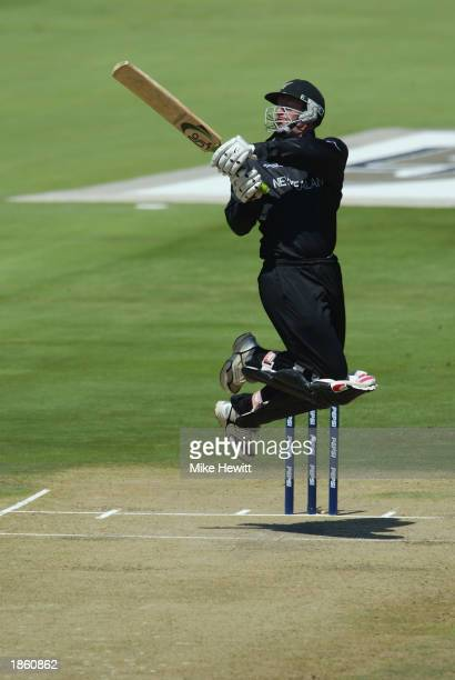Chris Harris of New Zealand hooks for four during the ICC Cricket World Cup Super Six match between New Zealand and India held on March 14 2003 at...