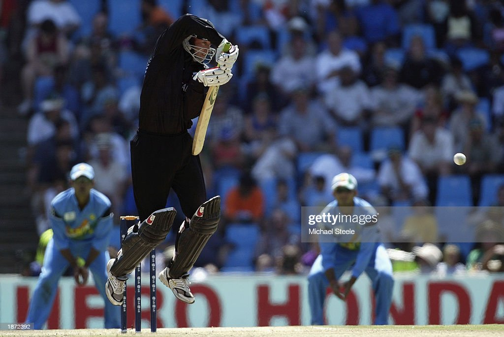 Chris Harris of New Zealand in action during the ICC Cricket World Cup Super Six match between New Zealand and India held on March 14, 2003 at Supersport Park in Centurion, South Africa. India won the match by 7 wickets.