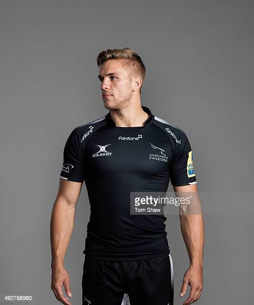 Chris Harris of Newcastle Falcons poses for a picture during the Newcastle Falcons Photocall for BT at Kingston Park on September 17 2015 in...