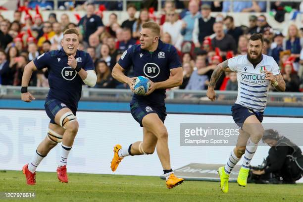 Chris Harris of Scotland in action during the 2020 Guinness Six Nations match between Italy and Scotland at Stadio Olimpico on February 22 2020 in...