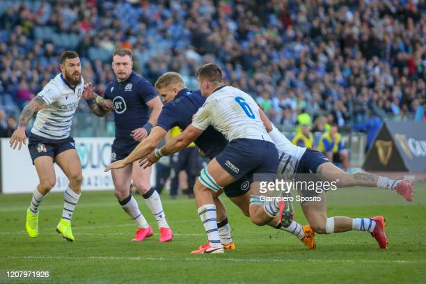 Chris Harris of Scotland scores a try during the 2020 Guinness Six Nations match between Italy and Scotland at Stadio Olimpico on February 22 2020 in...