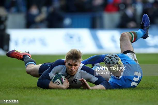 Chris Harris of Scotland scores his team's fifth try during the Guinness Six Nations match between Scotland and Italy at Murrayfield on February 2,...