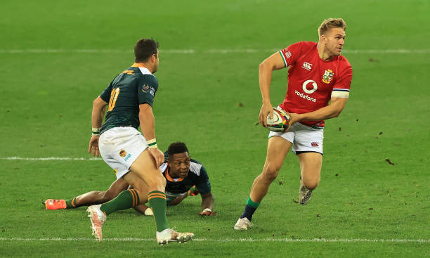 CAPE TOWN, SOUTH AFRICA - JULY 14: Chris Harris of the British and Irish Lions runs with the ball during the match between South Africa A and the British & Irish Lions at Cape Town Stadium on July 14, 2021 in Cape Town, South Africa. (Photo by David Rogers/Getty Images)