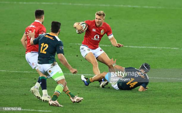 Chris Harris of the British and Irish Lions runs with the ball during the match between South Africa A and the British & Irish Lions at Cape Town...