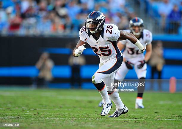 Chris Harris of the Denver Broncos against the Carolina Panthers during play at Bank of America Stadium on November 11 2012 in Charlotte North...