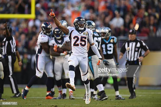 Chris Harris of the Denver Broncos celebrates as Danny Trevathan of the Denver Broncos recovers a fumble in the second quarter The Denver Broncos...