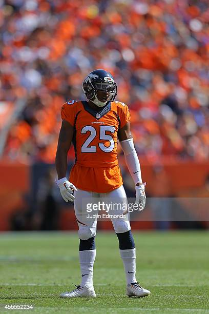 Chris Harris of the Denver Broncos in action against the Kansas City Chiefs at Sports Authority Field at Mile High on September 14 2014 in Denver...